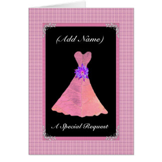 Be My Wedding Reader  PINK Leaf Dress Greeting Card
