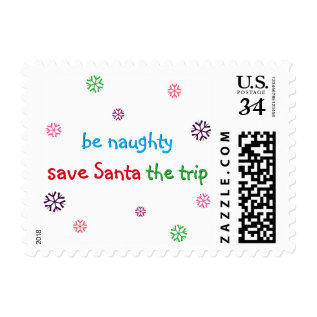 Be Naughty Funny Santa Christmas Postage Stamp at Zazzle