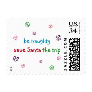 Be Naughty Funny Santa Christmas Postage Stamp