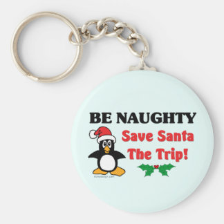 Be Naughty! Save Santa The Trip! Basic Round Button Keychain