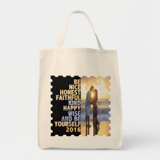 Be Nice Honest Faithful Happy Wise & Be yourself Tote Bag