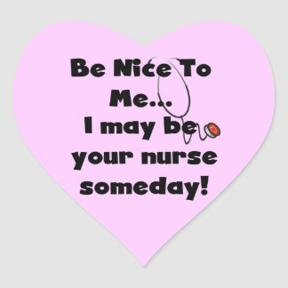 Be Nice Nurse T-shirts and Gifts Heart Sticker