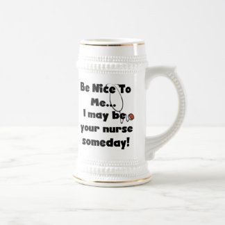 Be Nice Nurse T-shirts and Gifts 18 Oz Beer Stein