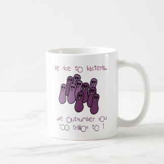 be nice to bacteria classic white coffee mug