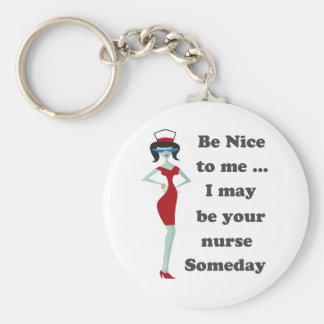 Be nice to me basic round button keychain