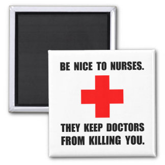 Be Nice To Nurses 2 Inch Square Magnet