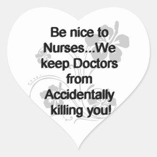 Be Nice To Nurses Heart Sticker