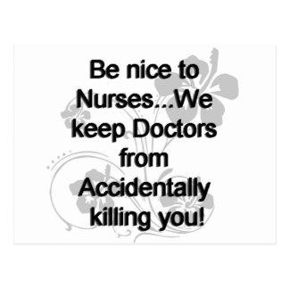 BE NICE TO NURSES POSTCARD