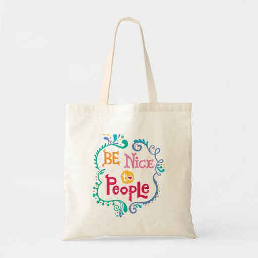 Be Nice To People apron Canvas Bags