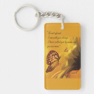 Be Not Afraid Religious Butterfly on Daisy Acrylic Key Chain