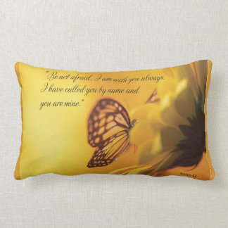Be Not Afraid Religious Butterfly on Daisy Lumbar Pillow