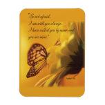 Be Not Afraid Religious Butterfly on Daisy Rectangular Magnet