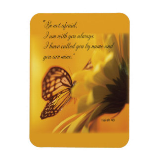 Be Not Afraid Religious Butterfly on Daisy Rectangular Photo Magnet