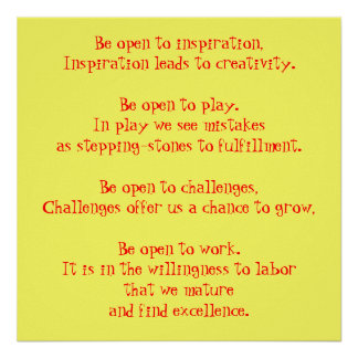 Be open to inspiration, Inspiration leads to cr... Poster