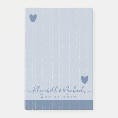 BE ORGANIZED WEDDING PLANNER - Dusty Blue GOLD Post-it Notes