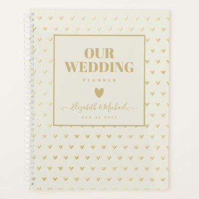 BE ORGANIZED WEDDING PLANNER - GOLD Hearts Custom