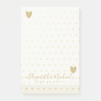 BE ORGANIZED WEDDING PLANNER - GOLD Hearts Custom Post-it Notes