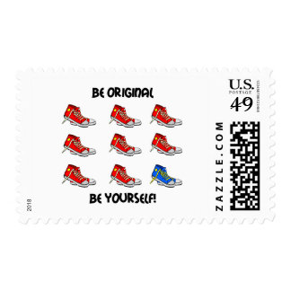 Be original sneakers postage stamp
