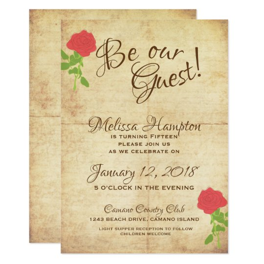 Be Our Guest Fairytale Birthday Invitation Zazzle Com
