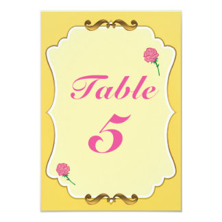 Be Our Guest Pink Rose Party Table Number Card
