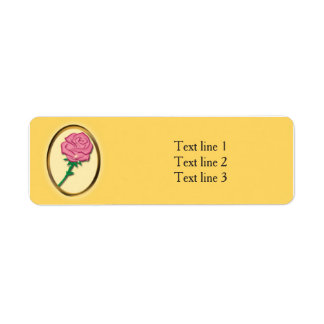 Be Our Guest Pink Rose Yellow Elegant Party Label