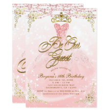 Be Our Guest Princess Pink & Gold Sweet 16 Party Card