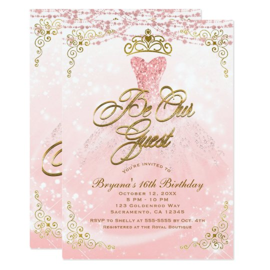 be our guest princess pink gold sweet 16 party invitation zazzle com
