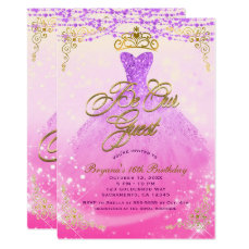 Be Our Guest Princess Purple & Gold Sweet 16 Party Card