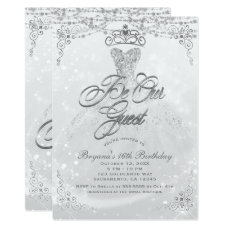 Be Our Guest Princess White Silver Sweet 16 Party Card