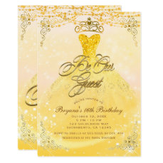 Be Our Guest Princess Yellow & Gold Sweet 16 Party Card