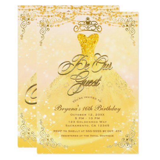 Be Our Guest Princess Yellow Gold Sweet 16 Party Card Zazzlecom