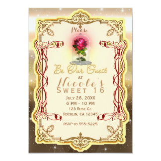 Be Our Guest Red Enchanted Magical Rose Party Card
