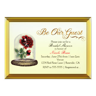 Be Our Guest Red Rose in Glass Elegant Card