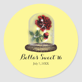 Be Our Guest Red Rose in Glass Elegant Party Classic Round Sticker