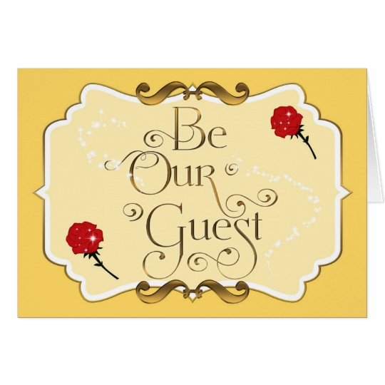 Be Our Guest Red Rose Yellow Elegant Folding Card Zazzle Com