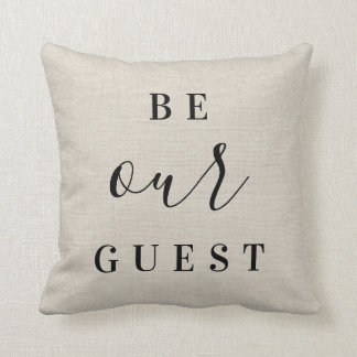 Be Our Guest | Rustic Ivory Farmhouse Throw Pillow