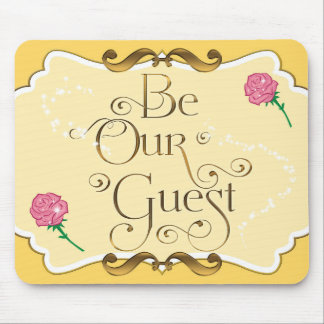 BE OUR GUEST Yellow Gold Pink Roses Mouse pad