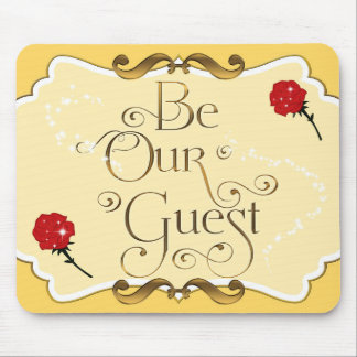 BE OUR GUEST Yellow Gold Red Roses Mouse pad