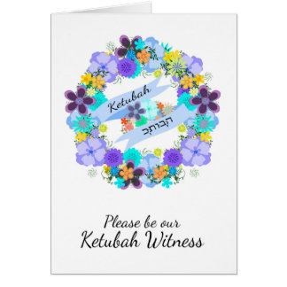 Be our Ketubah Witness with flowers and leaves Card