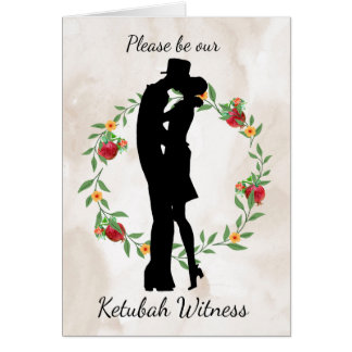 Be our Ketubah Witness with flowers and Silhouette Card