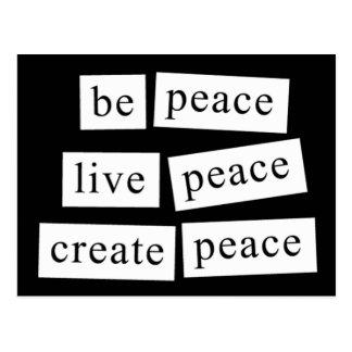 be peace - live peace - create peace postcard