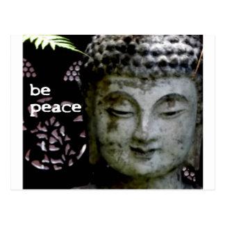 Be Peace - Serene Buddha Face -Black/White Postcard