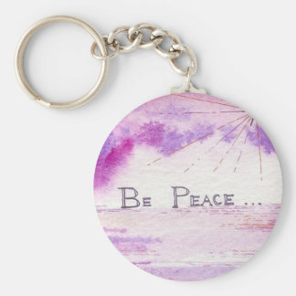 Be Peace - Watercolor Sunset Painting Basic Round Button Keychain