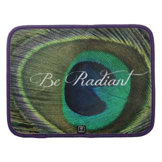 Be Radiant Quote with Peacock Feather Organizer