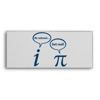 Be Rational Get Real Imaginary Math Pi Envelope