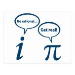 Be Rational Get Real Imaginary Math Pi Postcard