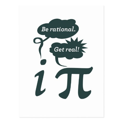 be rational! get real! postcard