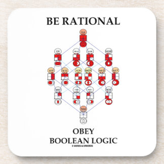 Be Rational Obey Boolean Logic (Hasse Diagram) Drink Coaster