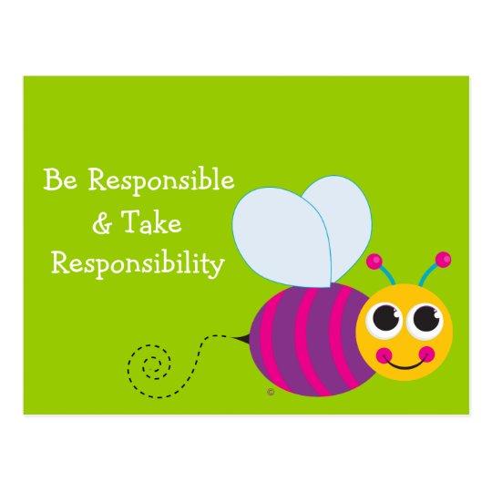 Be Responsible Cute Bee Card