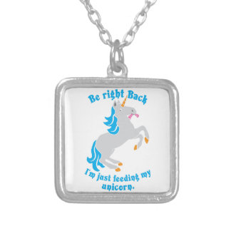 Be right back I'm just feeding my UNICORN Silver Plated Necklace